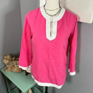 Chaps small hot pink white long tunic style top